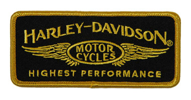 Harley-Davidson 4.25 in. Embroidered High Performance Emblem Sew-On Patch - Gold - Wisconsin Harley-Davidson