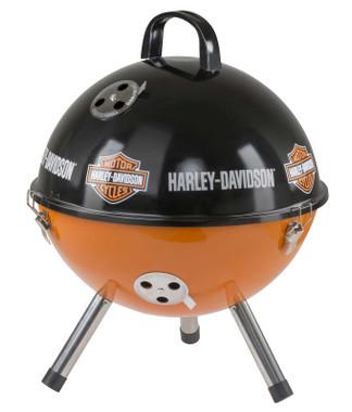 Harley-Davidson Bar & Shield Logo Portable Charcoal Grill - Black & Orange - Wisconsin Harley-Davidson