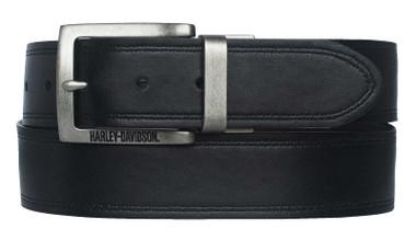 Harley-Davidson Men's Traditional H-D Reversible Leather Belt - Black/Brown - Wisconsin Harley-Davidson