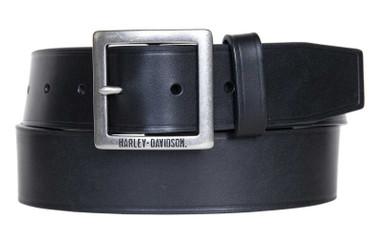 Harley-Davidson Men's Heritage Garrison Genuine Leather Belt - Antique Nickel - Wisconsin Harley-Davidson