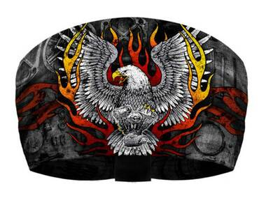 That's A Wrap Unisex Flames Screamin' Eagle Knotty Band Headwrap - Black - Wisconsin Harley-Davidson