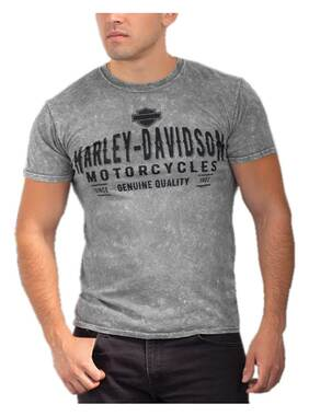 Harley-Davidson Men's Western Text Crew-Neck Short Sleeve Mineral Wash T-Shirt - Wisconsin Harley-Davidson
