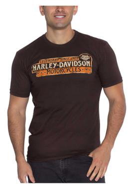 Harley-Davidson Men's Legendary Crew-Neck Cotton Short Sleeve T-Shirt, Brown - Wisconsin Harley-Davidson