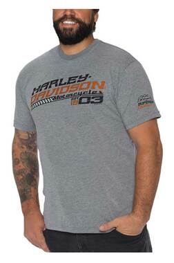 Harley-Davidson Men's Racing Power Tri-Blend Short Sleeve T-Shirt, Heather Gray - Wisconsin Harley-Davidson