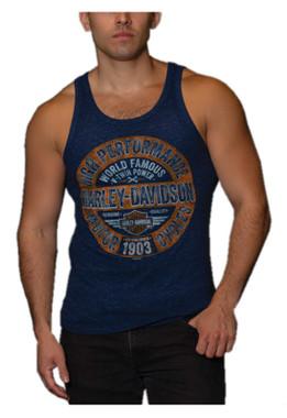Harley-Davidson Men's Ball & Chain Sleeveless Tri-Blend Muscle Tank Top - Navy - Wisconsin Harley-Davidson