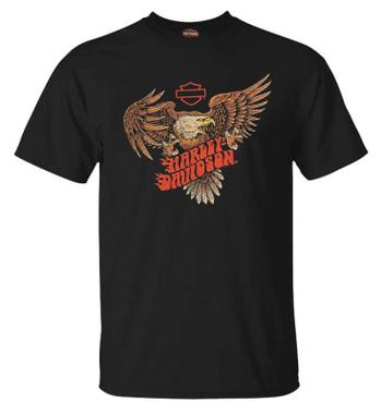 Harley-Davidson Men's Eagle Flaming Short Sleeve Crew-Neck Cotton Tee, Black - Wisconsin Harley-Davidson