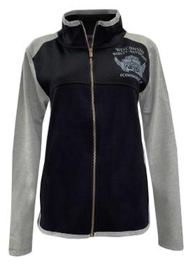 Harley-Davidson Women's Amnesty Poly-Blend Colorblocked Track Jacket- Black/Gray - Wisconsin Harley-Davidson