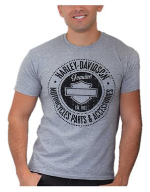 Harley-Davidson Men's Bar & Shield Chest Pocket Short Sleeve T-Shirt - Gray - Wisconsin Harley-Davidson