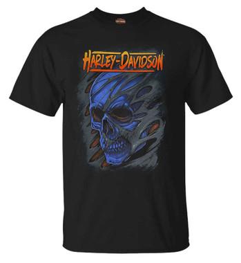Harley-Davidson Men's Stretched Skull Crew-Neck Short Sleeve T-Shirt - Black - Wisconsin Harley-Davidson