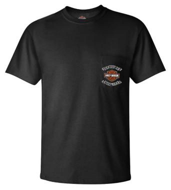 Harley-Davidson Men's Battle Torn Chest Pocket Short Sleeve T-Shirt - Black - Wisconsin Harley-Davidson