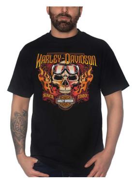 Harley-Davidson Men's Goggle Skull Crew-Neck Short Sleeve T-Shirt - Black - Wisconsin Harley-Davidson