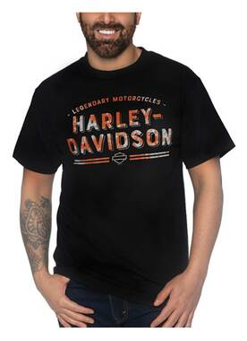 Harley-Davidson Men's Rusted Sign Crew-Neck Short Sleeve Cotton T-Shirt - Black - Wisconsin Harley-Davidson