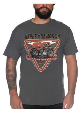 Harley-Davidson Men's Motorcycle Short Sleeve Cotton Crew-Neck T-Shirt, Gray - Wisconsin Harley-Davidson
