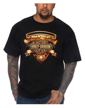 Harley-Davidson Men's Motor Shield Crew-Neck Short Sleeve Cotton T-Shirt - Black - Wisconsin Harley-Davidson