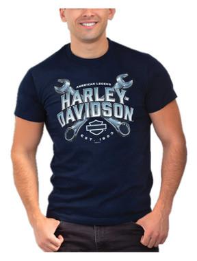 Harley-Davidson Men's Cross It Wrenches Short Sleeve Cotton T-Shirt - Navy - Wisconsin Harley-Davidson