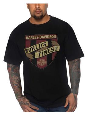 Harley-Davidson Men's Worn Crest Crew-Neck Short Sleeve Cotton T-Shirt - Black - Wisconsin Harley-Davidson