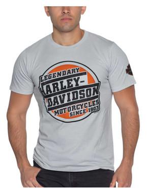 Harley-Davidson Men's Scrappy Line Short Sleeve Crew-Neck Cotton T-Shirt, Gray - Wisconsin Harley-Davidson