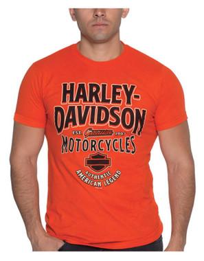 Harley-Davidson Men's Ambush H-D Short Sleeve Crew-Neck Cotton T-Shirt, Orange - Wisconsin Harley-Davidson