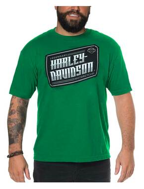 Harley-Davidson Men's Dimensional H-D Crew-Neck Short Sleeve Tee, Kelly Green - Wisconsin Harley-Davidson