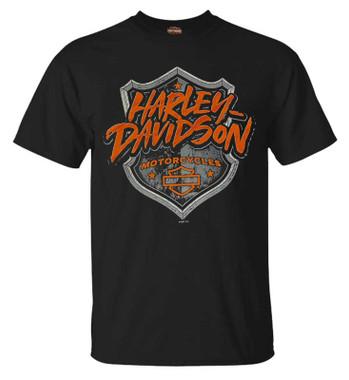 Harley-Davidson Mens Protect Shield Crew-Neck Short Sleeve Cotton T-Shirt, Black - Wisconsin Harley-Davidson