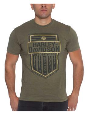 Harley-Davidson Men's Sparked Poly-Blend Short Sleeve T-Shirt, Military Green - Wisconsin Harley-Davidson