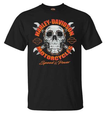 Harley-Davidson Men's Terminate Short Sleeve Crew-Neck Cotton T-Shirt, Black - Wisconsin Harley-Davidson