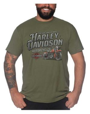 Harley-Davidson Men's Vintage Bike Crew-Neck Short Sleeve Tee - Military Green - Wisconsin Harley-Davidson