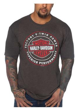 Harley-Davidson Men's Statement B&S Tri-Blend Short Sleeve T-Shirt - Brown - Wisconsin Harley-Davidson