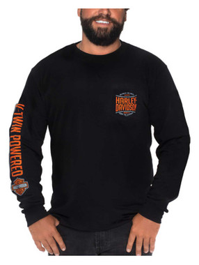 Harley-Davidson Men's Stock Pile Long Sleeve Chest Pocket Cotton T-Shirt, Black - Wisconsin Harley-Davidson