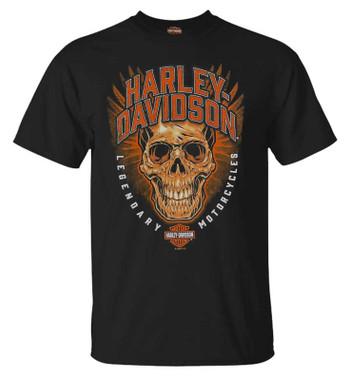 Harley-Davidson Men's Morbid Skull Short Sleeve Crew-Neck Cotton T-Shirt, Black - Wisconsin Harley-Davidson