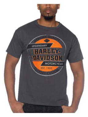 Harley-Davidson Men's Legendary H-D Short Sleeve Crew-Neck Cotton T-Shirt, Gray - Wisconsin Harley-Davidson