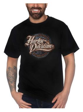 Harley-Davidson Men's H-D Text Short Sleeve Crew-Neck Cotton T-Shirt, Black - Wisconsin Harley-Davidson