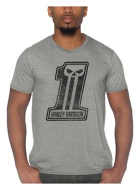 Harley-Davidson Men's Trait #1 Skull Tri-Blend Short Sleeve T-Shirt - Gray - Wisconsin Harley-Davidson