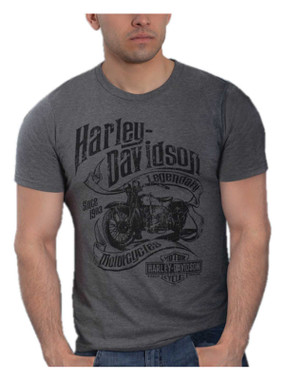Harley-Davidson Men's Tangled Short Sleeve Poly-Blend T-Shirt, Charcoal Gray - Wisconsin Harley-Davidson