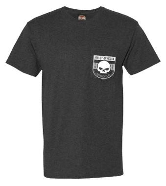 Harley-Davidson Men's Ghost Face Chest Pocket Short Sleeve Tee - Black Heather - Wisconsin Harley-Davidson