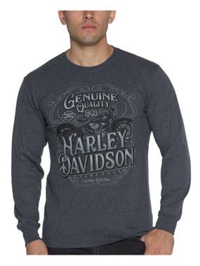 Harley-Davidson Men's Notorious Long Sleeve Crew-Neck Shirt - Heather Black - Wisconsin Harley-Davidson