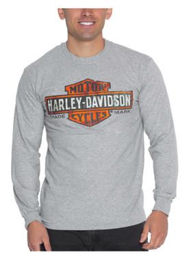 Harley-Davidson Men's Decayed B&S Logo Long Sleeve Crew-Neck Shirt, Gray - Wisconsin Harley-Davidson