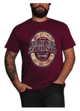 Harley-Davidson Men's Fate H-D Crew-Neck Short Sleeve Cotton T-Shirt, Maroon - Wisconsin Harley-Davidson