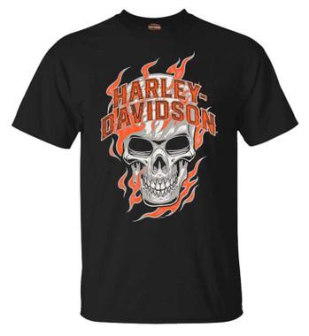 Harley-Davidson Men's Skull Flames Short Sleeve Crew-Neck Cotton T-Shirt, Black - Wisconsin Harley-Davidson