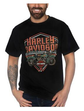 Harley-Davidson Men's Chrome Out Short Sleeve Crew-Neck Cotton T-Shirt - Black - Wisconsin Harley-Davidson