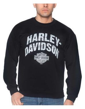 Harley-Davidson Men's Streamer Poly-Blend Crew-Neck Pullover Fleece Sweatshirt - Wisconsin Harley-Davidson