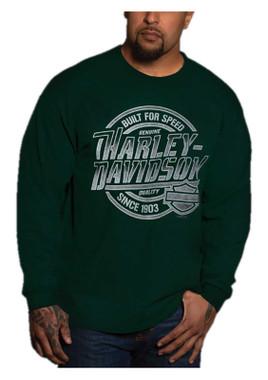 Harley-Davidson Men's Firepower Long Sleeve Crew-Neck Cotton Shirt - Green - Wisconsin Harley-Davidson