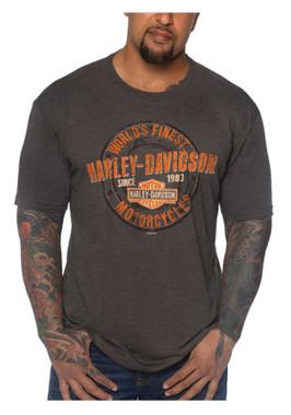 Harley-Davidson Men's Grunge Coin Short Sleeve Crew-Neck Tri-Blend T-Shirt - Wisconsin Harley-Davidson