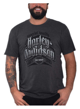 Harley-Davidson Men's Crossbuck Short Sleeve Crew-Neck Poly T-Shirt, Charcoal - Wisconsin Harley-Davidson