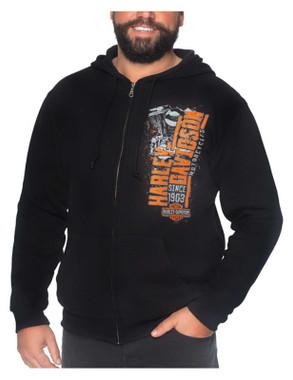 Harley-Davidson Men's Capitalist Zip-Up Poly-Blend Hoodie - Solid Black - Wisconsin Harley-Davidson