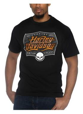 Harley-Davidson Men's Willie G Skull Short Sleeve Crew-Neck T-Shirt, Black - Wisconsin Harley-Davidson