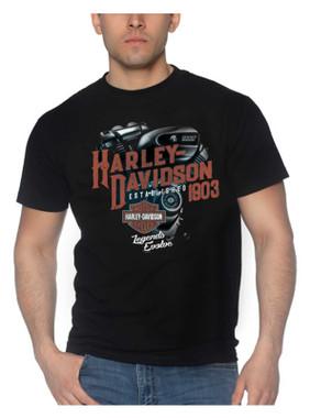 Harley-Davidson Men's Evolving Crew-Neck Short Sleeve Cotton T-Shirt, Black - Wisconsin Harley-Davidson