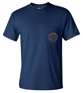Harley-Davidson Men's Syndicate Chest Pocket Short Sleeve T-Shirt - Navy Blue - Wisconsin Harley-Davidson