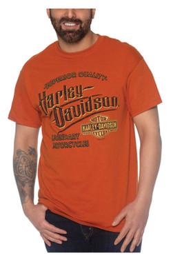 Harley-Davidson Men's Hard Edge Crew-Neck Short Sleeve Cotton T-Shirt, Orange - Wisconsin Harley-Davidson