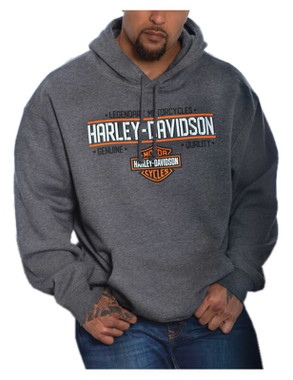 Harley-Davidson Men's Charges Pullover Poly-Blend Hoodie, Charcoal Heather - Wisconsin Harley-Davidson